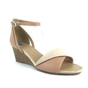 Franco Sarto Deirdra Pink Wedge Sandal Nude NWOB G